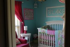 Project Nursery - Girl Aqua and Pink Nursery
