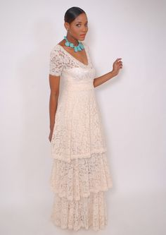 Ivory Two in One Bohemian Wedding Dress. LACE by DreamersLA