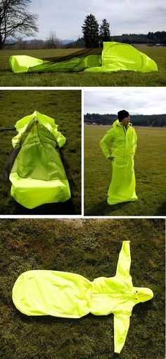 Cool, Unusual tent Jacket + Tent + Sleeping Bag = JakPak weighs 3 lbs, constructed of urethane http://jakpak.com/home.aspx