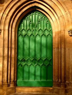 This is an unusual door and unusual color but inviting and ecclesiastical.