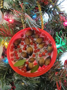 nature collage ornament - perfect for little kids to make!