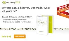It's DNA Day today - April 25th! This holiday celebrates the day in 1953 when the structure of DNA was first published. Have you discovered your DNA? If not, you should with AncestryDNA.