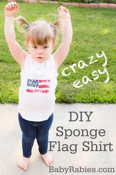 DIY Sponge Flag Shirt