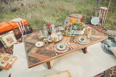 boho dinner. love the chevron table design!