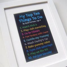 Child's top ten list - great fun!