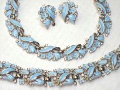 Trifari Baby Blue Enamel Flower Rhinestone Parure Set Necklace Bracelet Earrings | eBay