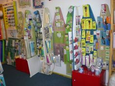 Notion wall inside The Creation Station -- made from old ironing boards.