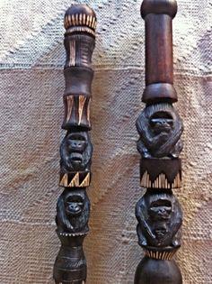 Hand-carved walking sticks