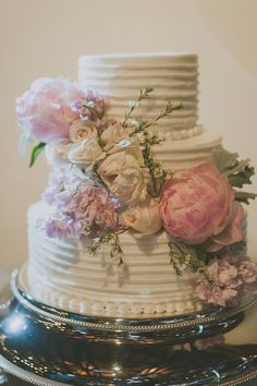 floral wedding #cake, photo by Day 7 Photography http://ruffledblog.com/elegant-rancho-mirando-wedding #cakes #weddingcake
