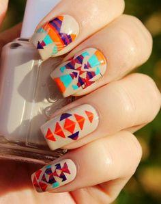 Christmas Vintage Aztec Tribal Nails, Tribal nails for girls,Christmas Aztec Tribal nails for 2013 Fall/Winter #christmas #nail #art www.loveitsomuch.com