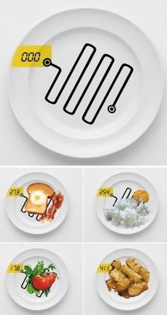 A dish which can immediately detect the food's calorie value