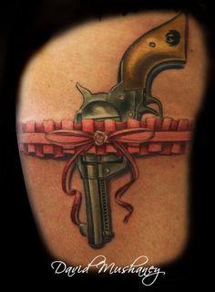 David Mushaney - Realistic Gun Tattoo