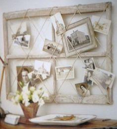 A QUICK AND EASY COLLAGE FOR PICTURES. - Use Antique Twine to Keep It Simple and Primitive.  Check Yard Sales and Flea Markets for Antique or Vintage Pictures and Picture Frames. Try Making the Large Framed Border from Used Window Frames. Love this Idea!!