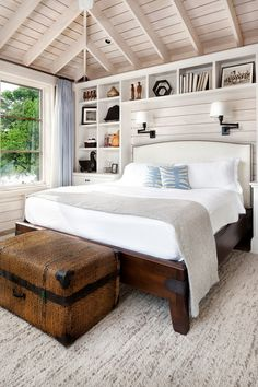 Master Bedroom idea...I like this ceiling too...white sheets are good because you can bleach them. This room can be locked and not rented out, or we make sure that a closet in it can be locked for private owner items