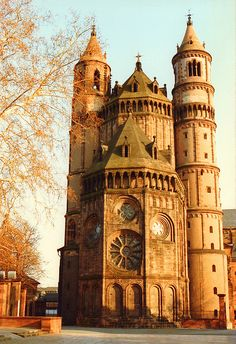 Worms Cathedral, Germany~ the original building consecrated in 1110. The remainder was mostly finished by 1181, but the west choir and the vaulting were built in the 13th century, the elaborate south portal was added in the 14th century, and the central dome has been rebuilt.