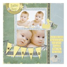 Rugged Baby Boy Arrival Scrapbooking Layout