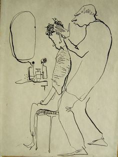"Pen and ink drawing by Dorothy Messenger ""Haircut Day"""