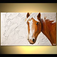 """Original Horse Painting Abstract Animal Painting  On Canvas Thick Texture White Background  Palette Knife by Osnat Tzadok 40"""" by 24"""""""