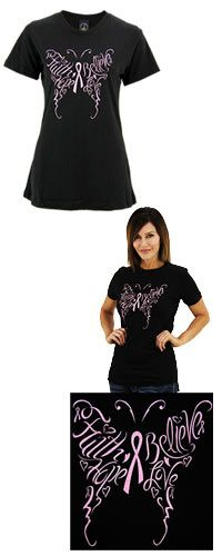 Faith+Hope+Love+Believe+Pink+Ribbon+Butterfly+T-Shirt+at+The+Breast+Cancer+Site