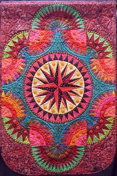 Mariner's Compass quilt - amazing fiesta colors.