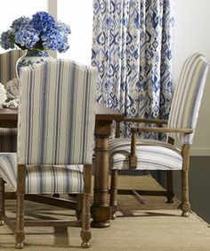 ethanallen.com - Ethan Allen Explorer style | like the blue stripe chairs