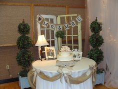 Burlap and Lace Wedding - Cake Table