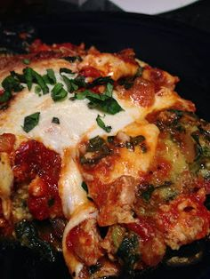 Eggplant & Zucchini Lasagna with ground turkey. A delicious low-carb and gluten-free recipe.