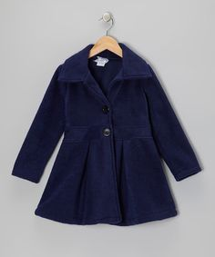 Navy Button Coat - Infant, Toddler & Girls by Kid Fashion on #zulily #toddler #infant #baby #girl #girls #kid #kids #fashion #button #peacoat #navy #blue #fleece #swing #coat #jacket #winter #holiday #christmas #party #dress #buttondown #down