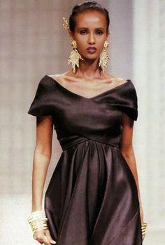 christians, ss 1989, dior delov, vintag fashion, christian dior, dress, iman, model super, 1980s model