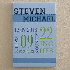 """Baby's Big Day Personalized Canvas Print For Boys- 12"""" x 18"""""""