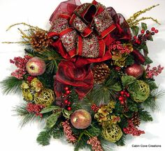 Williamsburg Manor door Wreath Fall Christmas Holiday 4 Season OPULENT & ELEGANT by cabincovecreations on Etsy, $230.00