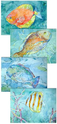Tropical watercolors! Coral Reef Fish Prints Set of 4 by Kim Solga at BlueOtterArt on Etsy, $35.00