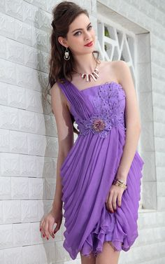 Purple One Shoulder Above Knee Beaded Prom/Ball/Cocktail Party Dress