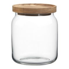 Acacia and Glass Medium Canister