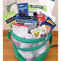 College gift basket- Mesh laundry bag filled with tons of essentials for the new college kid mesh laundri, colleg kid, gift basket ideas for kids, colleg gift, bag fill, gift baskets ideas for kids, diy gifts, college gifts, laundri bag