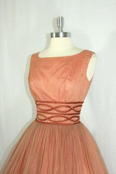 Vintage 1950's  Dress  Mocha Almond Chiffon Full Skirt Party Frock by VintageFrocksOfFancy