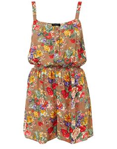 flower romper, outfits, beaches, playsuits, cloth, fashion prints, flower playsuit, flowers, topshop