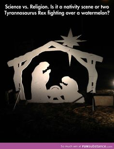 Nativity or Tyrannosaurus Rex funny pictures, dinosaur, funni, funny images, funny quotes, funny photos, hidden pictur, watermelon, nativity scenes