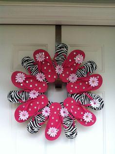 Zebra Print Flip Flop Wreath