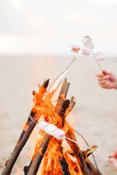 . bonfir, marshmallow, beach fire
