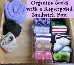 Organize Socks with a Repurposed Sandwich Box