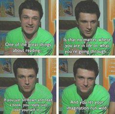 Josh loves reading! Perfect!