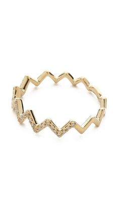 pave diamond zigzag stack ring / ef collection