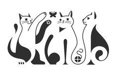 cat art, idea, doodle cat, deviantart, cat illustration silhouette, white cats, kartoen dieren, chat, design