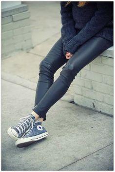 wet look leggings, converse, blue & white chunky jumper.
