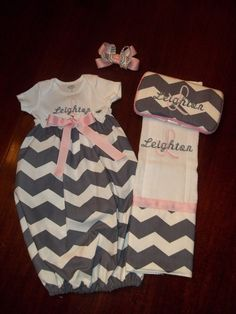 Monogrammed Chevron Gown Set by SewSweetTs on Etsy, $50.00