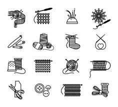 Knitting, embroidering, sewing icons by Microvector on Creative Market