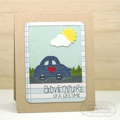 Adventure of a Lifetime - Scrapbook.com - Add bits of felt or fabric to your next pieced card for a multi-texture effect.