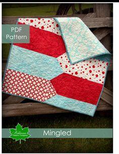 PDF Quilt Pattern - Mingled- baby quilt.