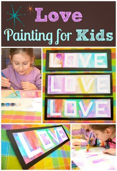 Love Painting for Kids -- such a pretty Valentine's Day art project!